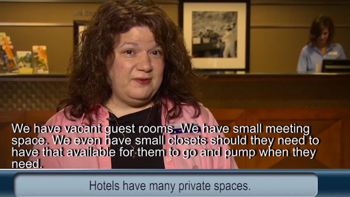 Video thumbnail. Caption reads: Hotels have many private spaces.