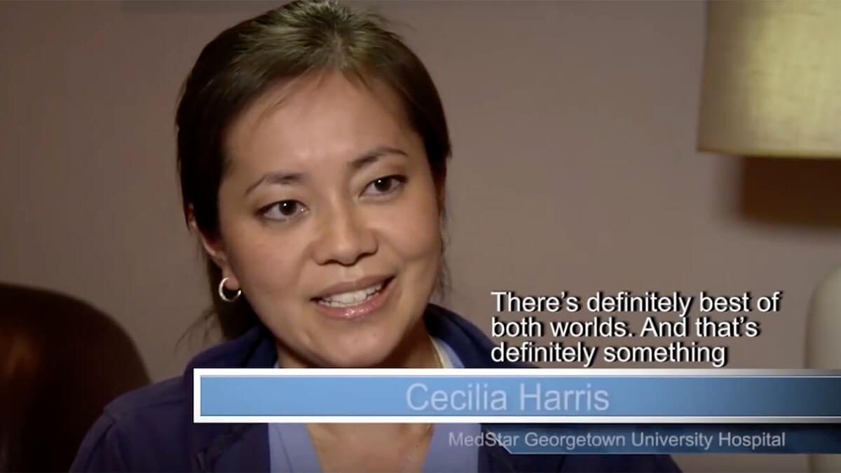 Video thumbnail. Caption reads: Cecilia Harris, MedStar Georgetown University Hospital