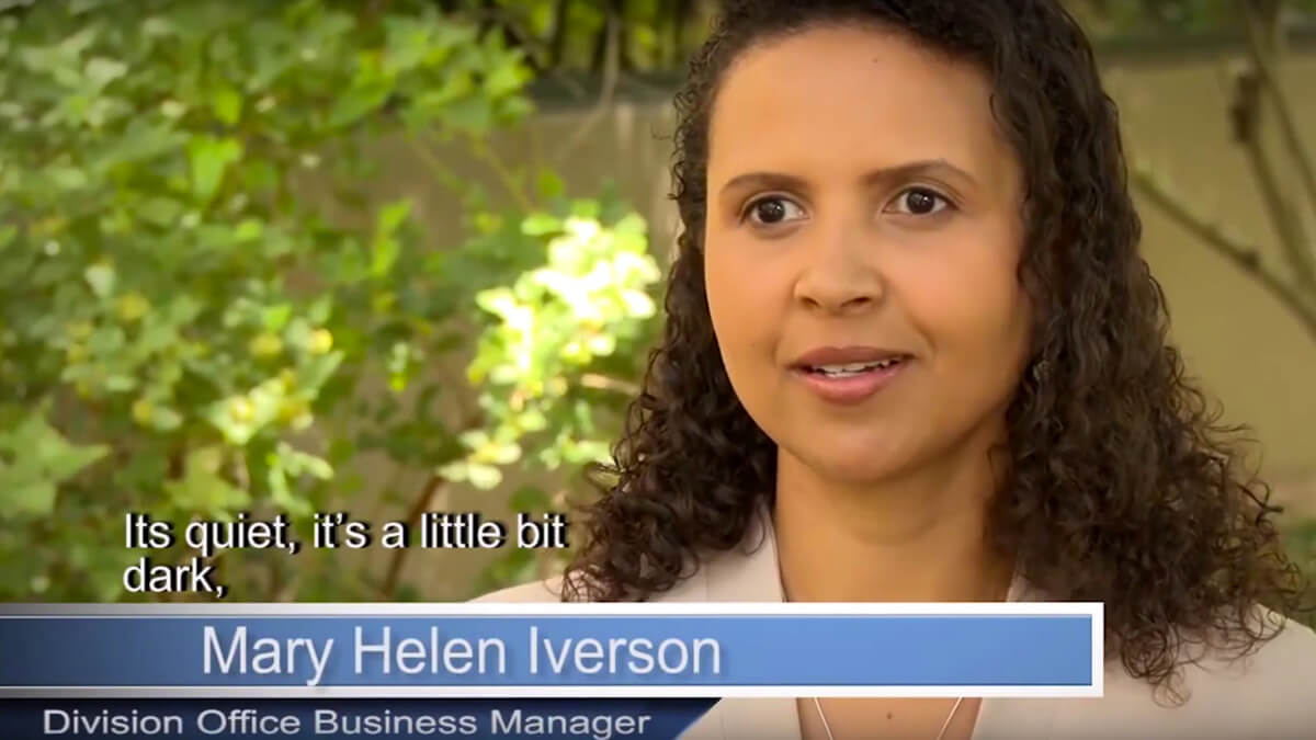 Video thumbnail. Caption reads: Mary Helen Iverson, Division Office Business Manager