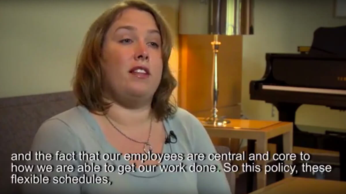 Video thumbnail. Caption reads: and the fact that our employees are central and core to how we are able to get our work done. So this policy, these flexible schedules...