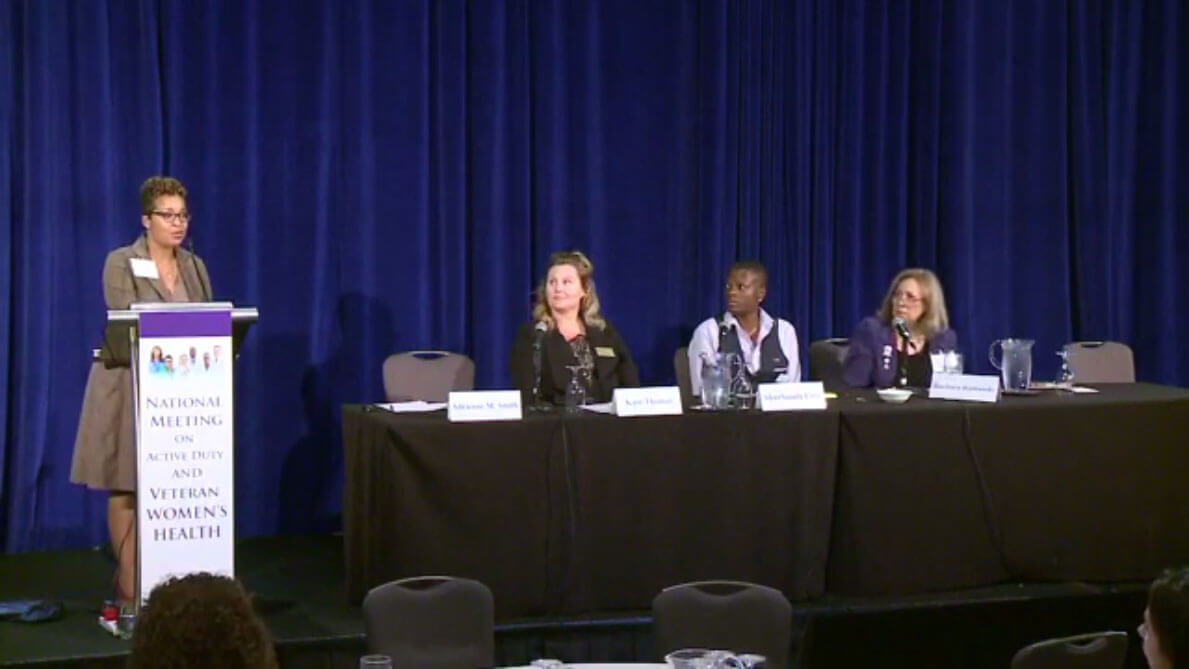 Panelists speaking at the National Meeting on Active Duty and Veteran Women's Health
