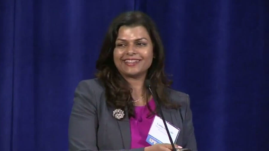 Vanila M. Singh, M.D., MACM, addresses meeting attendees