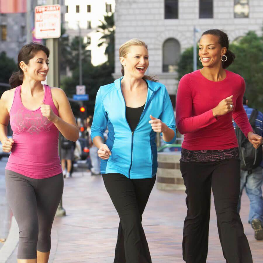 Women walking in exercise clothes