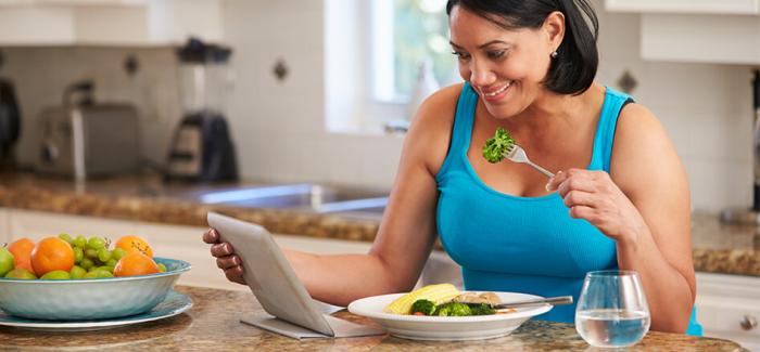 Woman enjoying a healthy meal