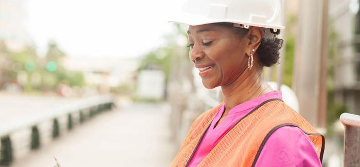 Woman working at a construction site