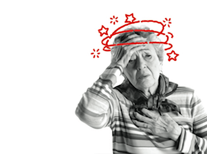 Photo of a woman experiencing light-headedness or sudden dizziness, illustrated by a super imposed sketch of stars among rings meant to indicate circular motion around her head.