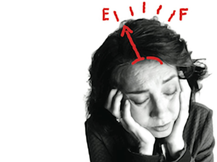 Photo of a woman experiencing unusual or unexplained fatigue (tiredness), illustrated by a super imposed sketch of a fuel tank indicator pointing to 'empty'.