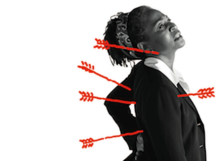 Photo of a woman experiencing unusual upper body discomfort, illustrated by a super imposed sketch of arrows (projectiles) puncturing her back and neck.