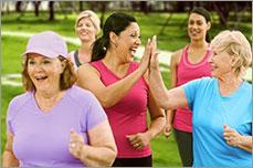 Older women going on a run.